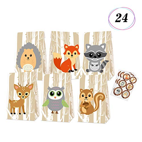 Woodland Creatures Favor Bags Baby Shower Candy Treat Gift Bags for Kids Forest Friends Themed Birthday Party Supplies -