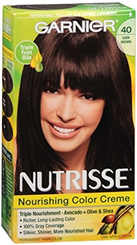 Garnier Nutrisse Haircolor Creme, Dark Brown [40] 1 ea (Pack of 3)