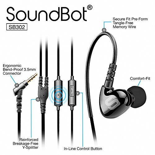 Soundbot SB302 Secure Fit Sports Active Earphone for Smartphone, Tablets, MP3 Players - (Fit Active Earbuds)