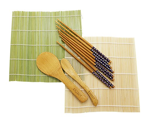 Exzact EX-SR08 Bamboo Sushi Rolling Kit 8pcs Set - 2 x Bamboo mats, 1 x Rice Paddle, 1 x Rice Spreader, 4 Pairs of Chopsticks - All Natural (EX-SR08)