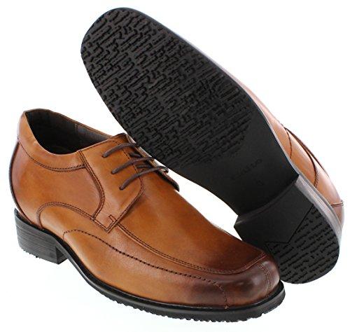 calto–g71305–8,1cm Grande Taille–Hauteur Augmenter Chaussures ascenseur (Marron à Lacets Square-Toe)