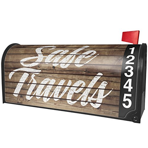 NEONBLOND Painted Wood Safe travels Magnetic Mailbox Cover Custom Numbers by NEONBLOND