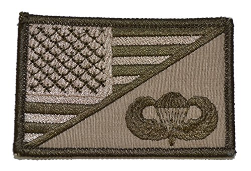 Jump Wings USA Flag 2.25 x 3.5 inch Morale Patch - Coyote - Wings Usa