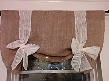 Km Curtains Handmade Tie Up Valance Window Treatment (40 X 27)