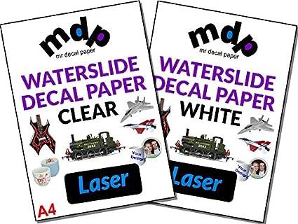 50 hojas A4 papel de color claro tóner calcomanía de agua ...