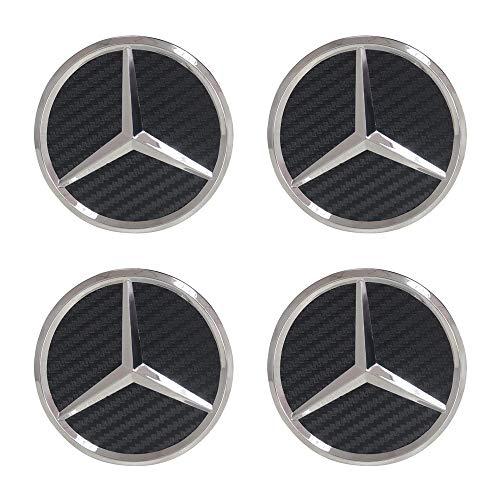 (4Pack Mercedes Benz Wheel Center Hub Caps Emblem,75mm Rim Black Carbon hubcaps Fit Benz C ML CLS S GL SL E CLK CL GL Center Cap Badge (Black Carbon))