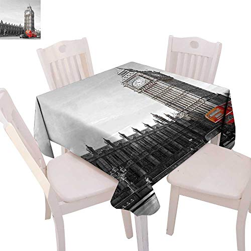 cobeDecor London Dinning Tabletop DecorBig Ben Tower Begining of Westminster Bridge with Black Cab and Red Bus Image Table Cover for Kitchen 54