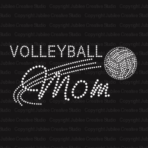 Volleyball Mom Iron On Rhinestone Crystal Transfer by JCS ()