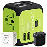 40000KM Universal Travel Adapter Dual USB Port,All in One Worldwide International Power Plug Adapters with Surge Protection for USA Europe UK AUS-Green