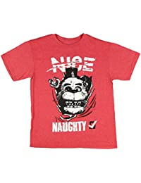 Naught Or Nice Checklist Boys Red Heather T-Shirt