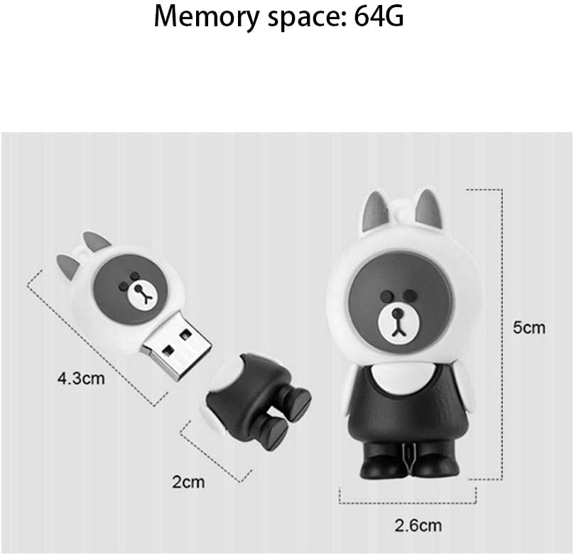 Computers Accessories Creative Cartoon Environmentally Friendly Silicone Memory Stick Flash Drive 32G 64G Portable Ring Chain Waterproof and Shockproof 10-11 128GU Disk