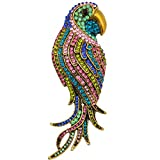 SELOVO Multicolor Crystal Animal Big Large Parrot Bird Brooch Pin Gold Tone