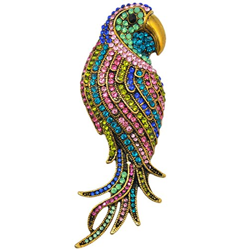SELOVO Multicolor Crystal Animal Big Large Parrot Bird Brooch Pin Gold Tone by SELOVO