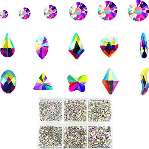 AB Crystal Rhinestones 1788 Pieces Flat Back Rhinestones Nail Multi-shape Rhinestones for Nails Face Decoration, Jewelry Making