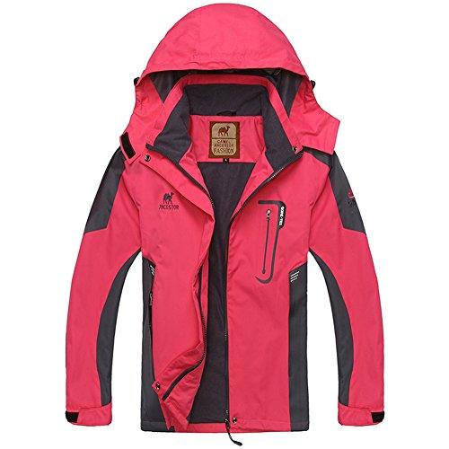 Coat GITVIENAR Windproof Mountain Outdoor Softshell Zip Rose Full Top Hood Waterproof Women's Jacket Sports 4w84xqFr