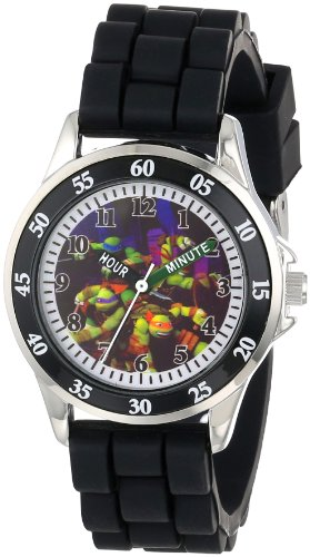 Ninja Turtles Kids' Analog Watch with Silver-Tone Casing, Black Bezel, Black Strap - Official TMNT Characters on The Dial, Time-Teacher Watch, Safe for Children - Model: TMN9013 ()