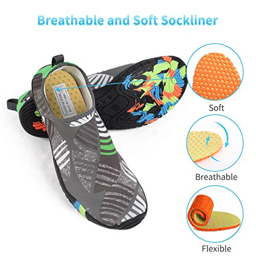Barefoot Swim Women Aqua Sports Socks Swim Men Water Gray Shoes thick Heeta Shoes Z Leaf Quick Dry for Beach 8PO1wcIqx