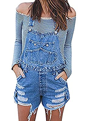 Fashare Womens Juniors Denim Shortalls Distressed Shorts Overalls Bid Jeans Jumpsuit