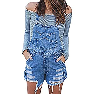 Meilidress Womens Distressed Ripped Denim Overall Shorts