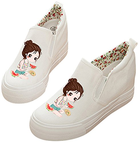 Satuki Volwassen Dames Pull-on Verborgen Hiel Wig Casual Canvas Schoenen Mode Sneakers N