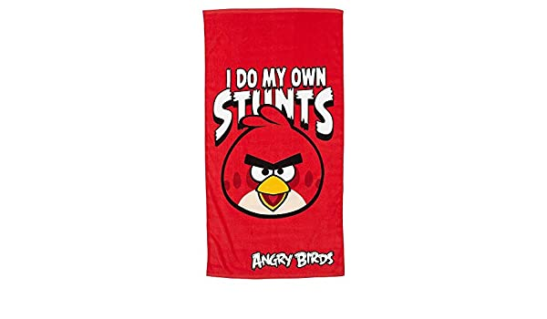 Angry Birds Red I Do My Own Stunts Character Beach Towel Printed 100/% Cotton