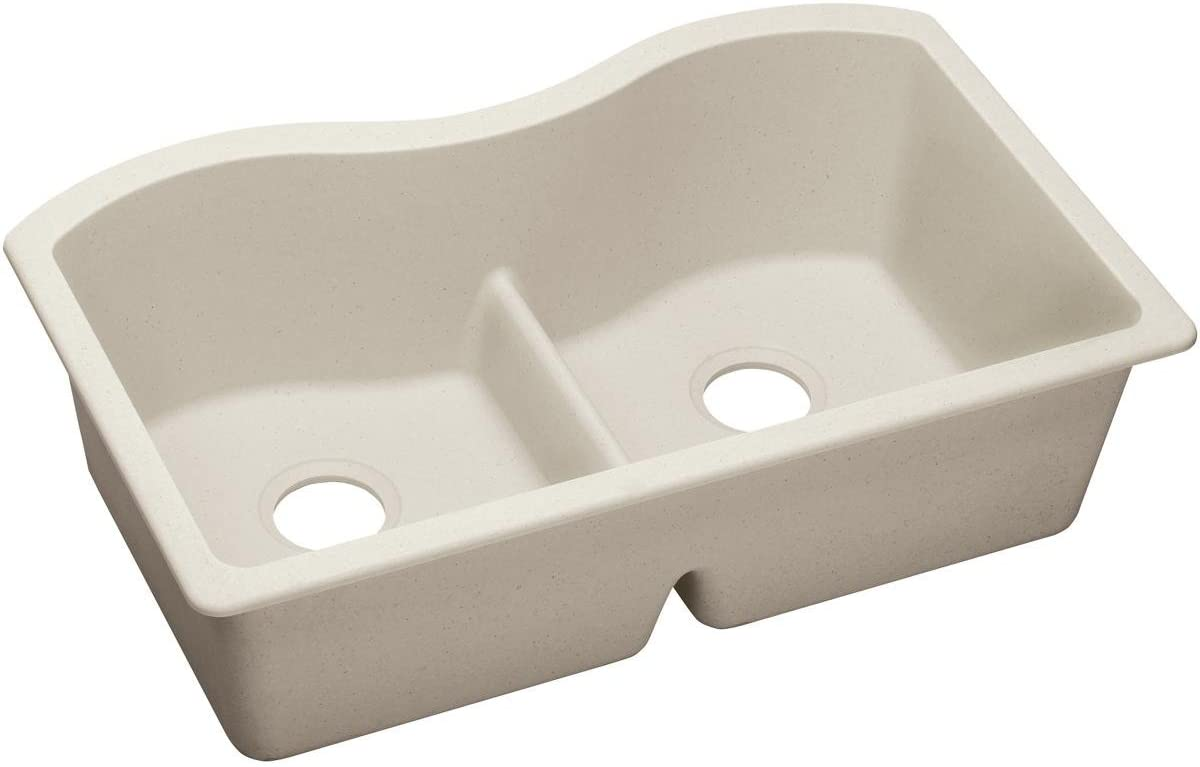 Elkay Quartz Luxe ELXULB3322RT0 Ricotta Equal Double Bowl Undermount Sink with Aqua Divide