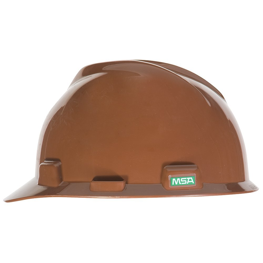 MSA 495854 V-Gard Polyethylene Protective Cap with Fas-Trac Suspension, Standard Size, Brown