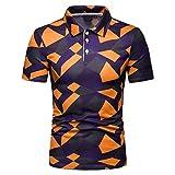 XLnuln Men's Fashion Short Sleeve Stripe Painting Large Size Casual Top Blouse Shirts Quick-Dry Golf Polo Shirt Orange