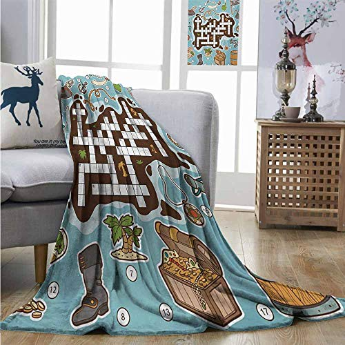 Homrkey Warm Blanket Word Search Puzzle Kids Cartoon Game Grid Numbers Finding The Right Words Pirate Icons Queen Size Blanket W60 xL91 -