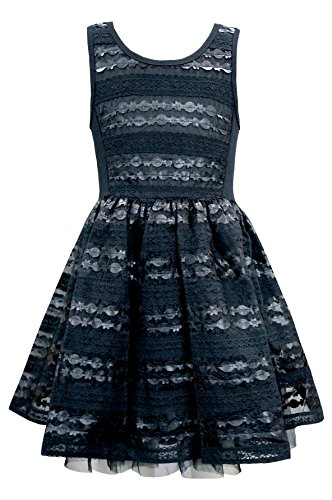 Hannah Banana Big Girls Tween Faux Leather Party Dress, 7-16 (14, Black) -