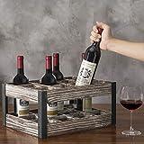 MyGift Rustic Metal & Wood Crate 12-Bottle Tabletop