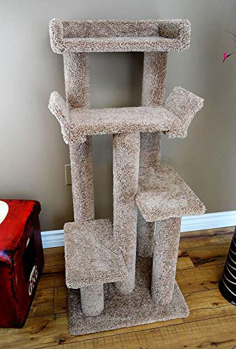 CozyCatFurniture 46 inches Climbing Cat Tree Tower Made in USA with Solid Wood, Soft Carpet, Kitty Furniture Made in USA (Brown)