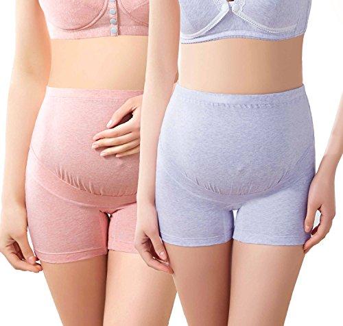 Intimate Portal Women Anti Chafing Maternity Pregnancy Boyshort Brief 2-Pk Pink Purple L by Intimate Portal (Image #2)