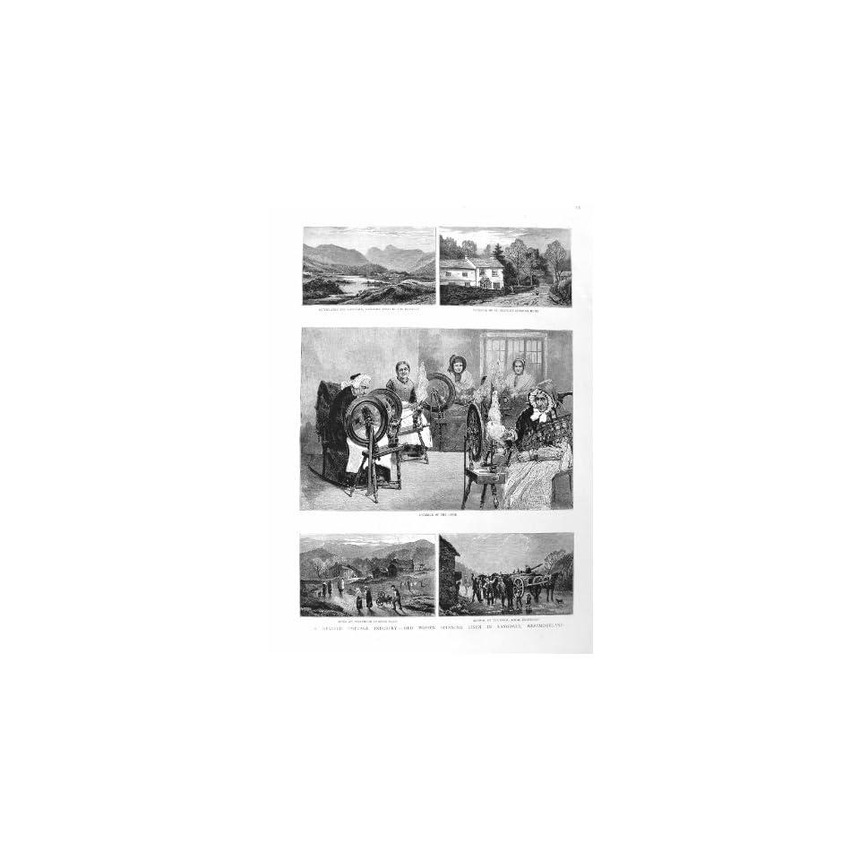 1885 COTTAGE INDUSTRY SPINNING LINEN LANGDALE LOOM ART