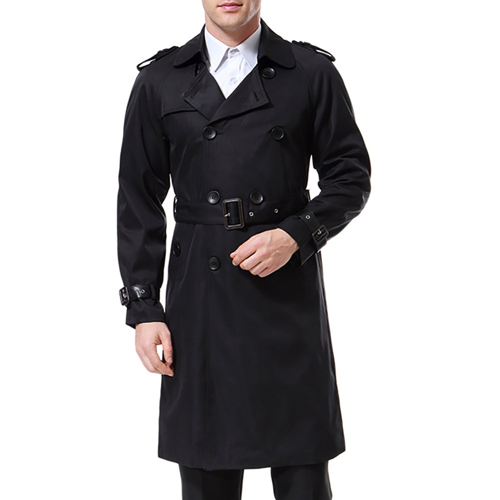 Men's Double Breasted Trenchcoat Stylish Slim Fit Mid Long Belted Windbreaker Black by AOWOFS