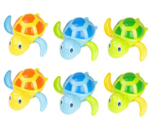 Zooawa [6 Pcs] Baby Bath Toy, Swimming Floating Turtle Bathtub Wind-up Toddler Toys Summer Pool Water Bath Fun Time Cute Sets,Eco-Friendly Material, 3 Colors - Blue, Orange, Green ()