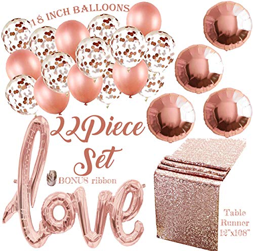 Rose Gold Balloons and Party Decorations | Confetti Balloons, Sequin Table Runner and More