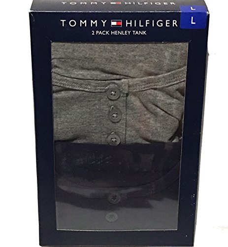 Tommy Hilfiger Button Shirt (Tommy Hilfiger Henley Tank 2 pack (Small, Navy/Grey))