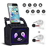 Lemebo Karaoke Bluetooth Rechargeable Machine & Portable PA Speaker Home System Kids Gif & Adults Couple Microphone & Earphone-iPhone Android PC All Smartphone (TFT Color Screen)