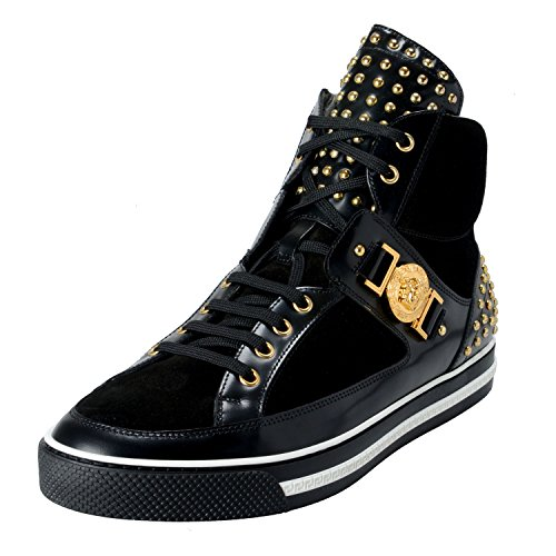 Versace-Mens-Black-Suede-Leather-Hi-Top-Sneakers-Shoes-US-13-IT-46