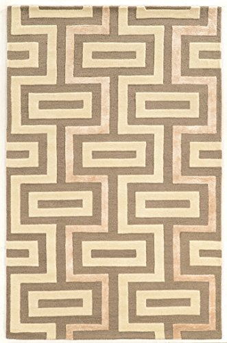 Linon Aspire Collection Wool Maze Gray Synthetic Rugs, 5'X 8' , Off/White