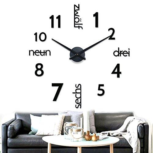 XXL 3D Schwarze Riesen Designer Wanduhr Wohnzimmer Dekoration Wandtatoo mit deutschem Zifferblatt aus Acryl
