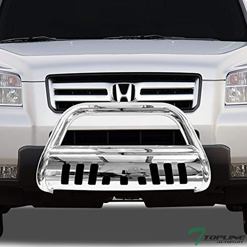 Topline Autopart Polished Stainless Steel Bull Bar Brush Push Front Bumper Grill Grille Guard With Skid Plate For 03-08 Honda Pilot ; 06-14 Ridgeline