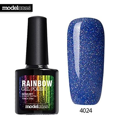 Modelones 2017 Fashion Neon Nail Gel Polish Soak Off UV Colorful Nail Colors Art For gel nail polish Long-lasting Gel (Steel Vapor Mod)