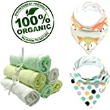 Baby Wear by Andee presents Organic Bamboo Baby Washcloths & Organic Cotton Baby Bibs Set