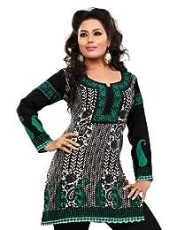 Long India Tunic Top Womens Kurti Printed Black Blouse Indian Clothing