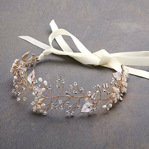 Mariell Freshwater Pearl and Crystal Gold Bridal Headband Hair Vine - Handmade