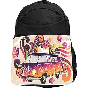 Rikki Knight UKBK Beatle Peace Retro van flower power Tech BackPack - Padded for Laptops & Tablets Ideal for School or College Bag BackPack