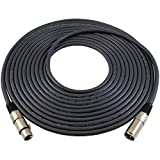 GLS Audio 25ft Mic Studio Series Cable Cord - XLR Male to XLR Female Black Cable - 25' Balanced Mike Cord - SINGLE