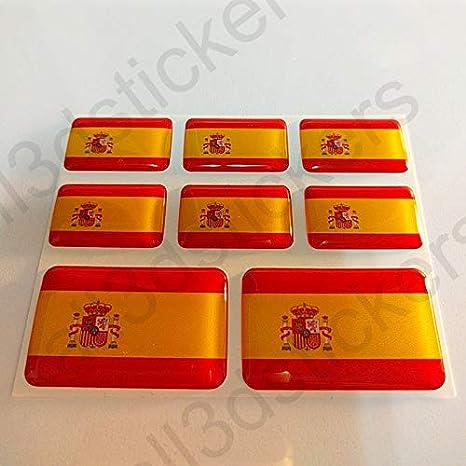 All3dstickers Pegatinas España con Escudo Resina, 8 x Pegatinas Relieve 3D Bandera España con Escudo Adhesivo Vinilo: Amazon.es: Coche y moto